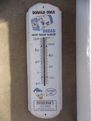 Vintage old big Donald Duck Bread advertising thermometer Working! sign
