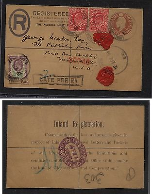 Great  Britain  uprated postal envelope  late fee marking to  US       KL0818