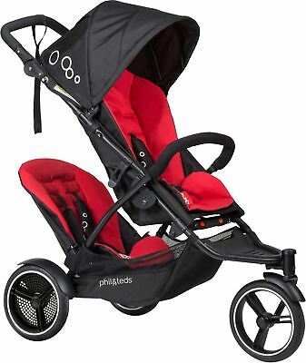 Phil & Teds DOT PUSHCHAIR/BUGGY/STROLLER & DOUBLE KIT CHILLI Baby Travel BN