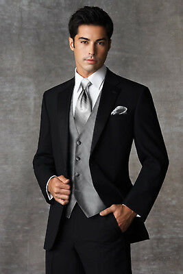 Black Joseph Abboud Tuxedo with Flat Front Pants Slim Shirt Silver Vest & Tie