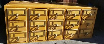 Vintage 15-Drawer Library Card Catalog File Cabinet Drawers
