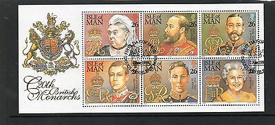Ms 844 Isle Of Man British Monarchs Very Fine Used Mini Sheet
