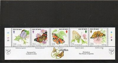 SG 573a  ISLE OF MAN BUTTERFLIES UMM STRIP