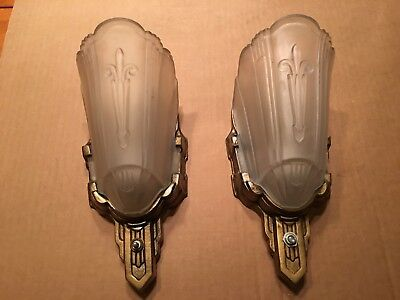 Art Deco Glass Slip Shade Wall Sconce pair