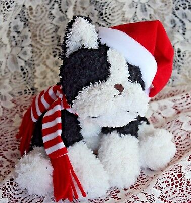 Stuffins Boston Terrier Soft Plush Christmas  With Tags