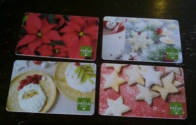Four (4)  NEW The Fresh Market Gift Cards, Holiday, Christmas, Collectible, Mint