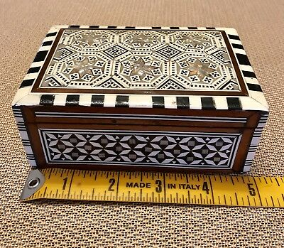 WOODEN Antique  Mother of Pearl Mosaic Jewelry Persian Box