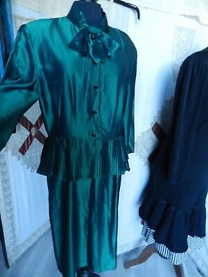 Charmante Robe T42 Verte Vintage  Weill  Taille Marquee Basques Plisees