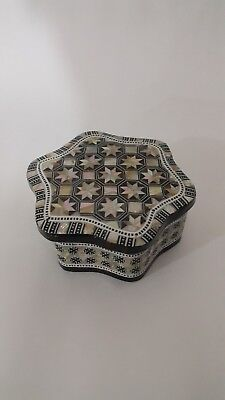 A six-sided jewellery box (hand-made antique) made of wood, with natural shells