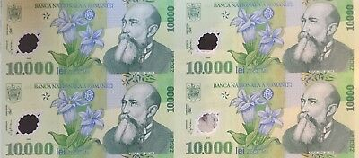 10 sheets of Romania of 10,000 Lei P-112b uncut sheet of 4, polymer issue UNC