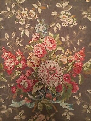 Antique Italian Tapestry Material - Green Floral - Monza Italy - 68 X 134cm