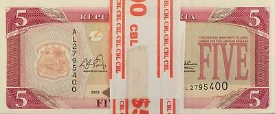 Liberia 5 Dollars P-26a bundle of 100 pcs 2003 issue, UNC