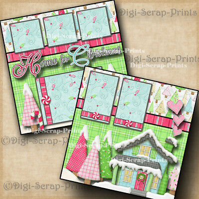 HOME FOR THE HOLIDAYS 2 premade scrapbook pages CHRISTMAS paper layout DIGISCRAP