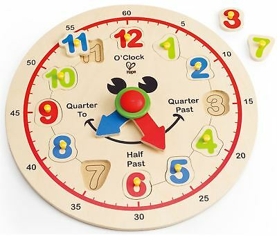 Hape HAPPY HOUR CLOCK Tell The Time Wooden/Learning Toy/Gift Toddler/Baby BN