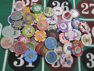 50 Casino Gambling Gaming Poker Chip Lot Las Vegas and Many Others New & Used