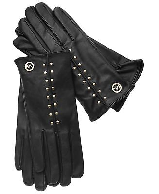Michael Kors Leather Astor Gold Studded Gloves Touch Tech Tips SZ M  NWT  $98