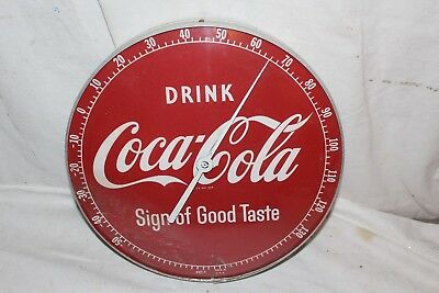 "Vintage 1950's Coca Cola Soda Pop Gas Station 12"" Metal & Glass Thermometer Sign"