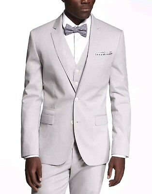 Express Men's Fitted Photographer 42R 32x32 Pinstripe Light Grey 3-piece suit M