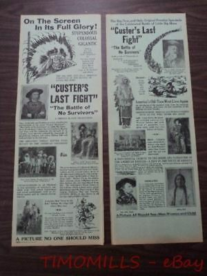 1912 CUSTER'S LAST FIGHT Silent Movie Poster Herald R26 Lot of 2 Thomas H. Ince