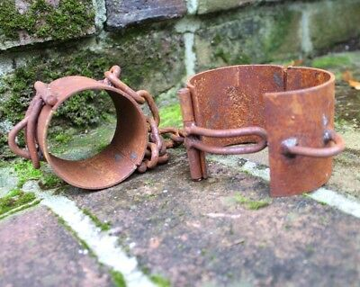 Old Rust Pair of Handcuffs Vintage Style Chains with Pipe Shape Shackles