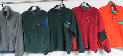 LOT OF 5 MENS PATAGONIA FLEECE JACKETS & VEST VINTAGE USA SYNCHILLA 90s SNAP