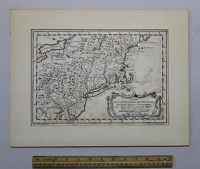 Small 18thC Antique Jacques Bellin 1757 New England, New York Pennsylvania Map