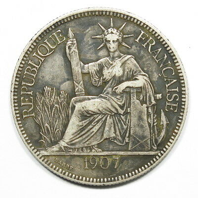 1907-A French Indo China Piastre Silver Coin