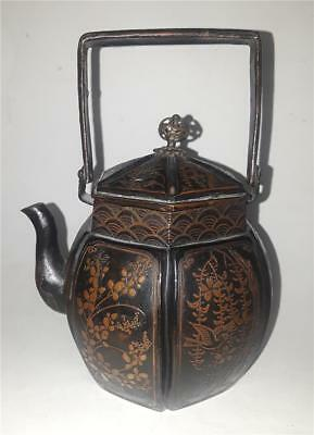 Antique Japanese Meiji Bronze Lacquered Teapot