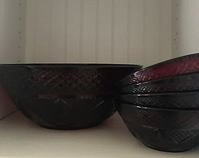 Vintage Ruby Red Crystal D Arques Luminarc France Berry Bowls Set