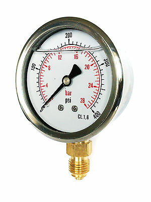 Hydraulic Pressure Gauge Glycerine Filled 63Mm 1/4 Bsp Various Ranges  Psi Bar