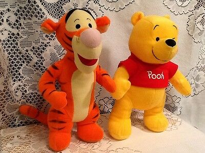 "2 Disney 12"" Toys Winnie the Pooh & Tigger Soft Plush Darling Cuddly Collectible"
