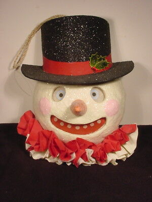 Vintage Large Creepy Christmas Snowman Top Hat Bethany Lowe~~As Found
