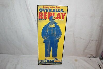"""Vintage Replay Overalls Blue Jeans Pants Gas Oil 20"""" Sign~Nice"""