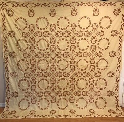 """Vintage Cross Stitched Quilt Top From Kit. 100""""x 100"""" Brown, Initialed & dated"""