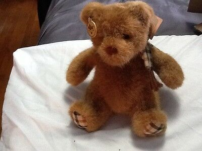 """Russ  10"""" Brown Bear With Plaid Scarf"""