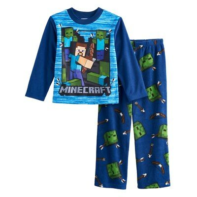 NWT Minecraft Steve Zombies Boy Pajamas PJ Shirt Pants Sz 6 8 10 12 14 Christmas