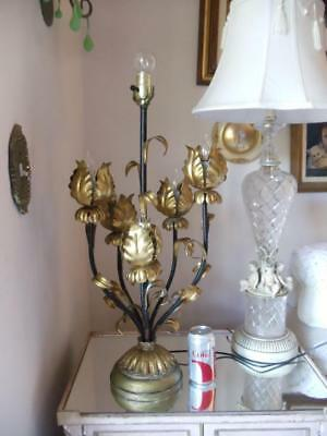 Vtg Hollywood Regency Italian Gold Gilt Tole Lotus Tulip Flower Large Table Lamp
