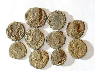10 ANCIENT ROMAN COINS AE3 - Uncleaned and As Found! - Unique Lot 29704