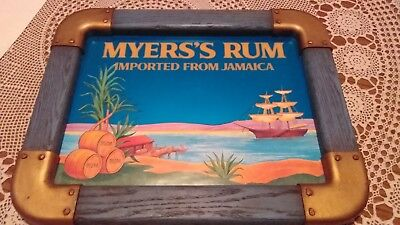 """MYERS'S Rum Imported From Jamaica Wall Sign Wood Glass 19.5"""" X 15.5""""~Man-Cave~"""