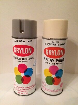 Vintage Krylon Spray Paint Cans Dove Gray And Antique White Enamel Lot Of 2