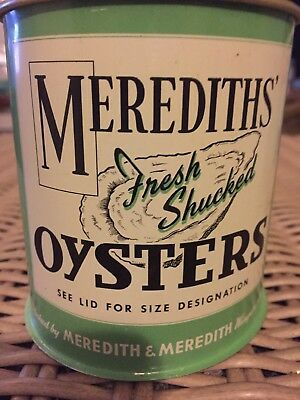 Merediths Fresh Shucked 16 oz Pint Oyster Tin Can Wingate MD 124 Chesapeake