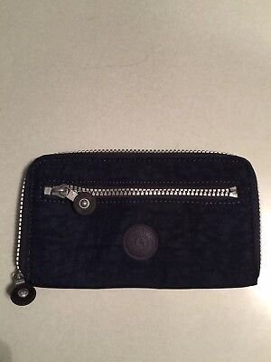 Kipling Nylon Zip Around Wallet Navy Blue
