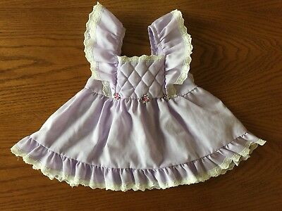 Vintage Baby Girl Purple Quilted Pinafore Dress Lace Trim Evy of California EUC