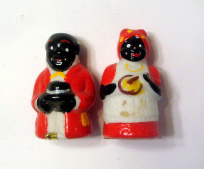 Set Pair Black Americana Figures ~ Aunt Jemima and Butler ~ Miniature 1 1/2""