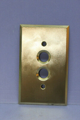 Vintage Solid Brass Push Button Switch Plate Wallplate Cover w/ Screws -RESTORED