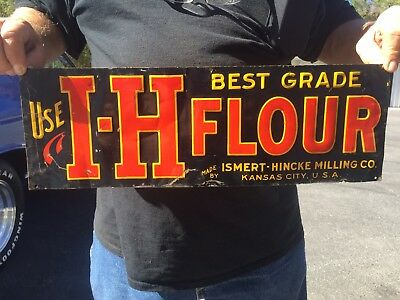 Vintage 1920/30s I-H Flour Embossed Tin Sign Great condition! Rare Kitchen sign!