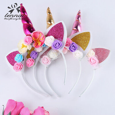 US Magical Unicorn Horn Floral Head Party Kid Headband Fancy Dress Decorative