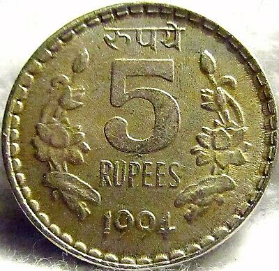 1994 INDIA (Republic) 5 Rupees ~ Nice Coin ~ KM# 154