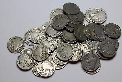 Buffalo Nickel 5c, Lot of 48 partial dates, mostly 1920's, mixed mints