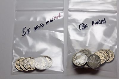 Buffalo Nickel 5c, Lot of 18 no dates, some mint marked